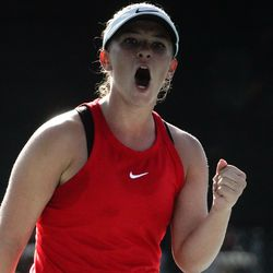 Erika Olsen, of Bear River, reacts after scoring a point against Bailey Huebner, of Green Canyon, during the final singles match of the 4A girls tennis state tournament at Liberty Park Tennis Center in Salt Lake City on Saturday, Oct. 2, 2021.