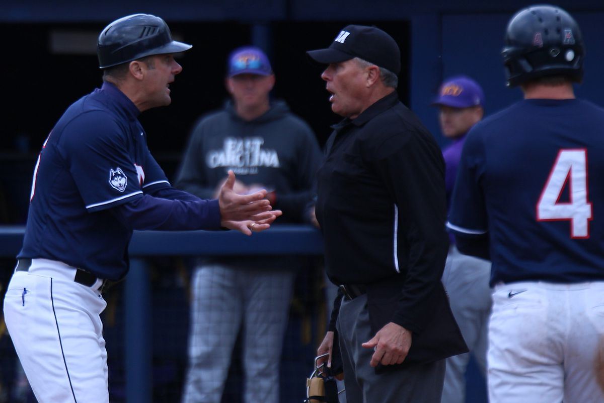 UConn Baseball coach Jim Penders was not pleased with a late strike call that changed outcome of game possibly.