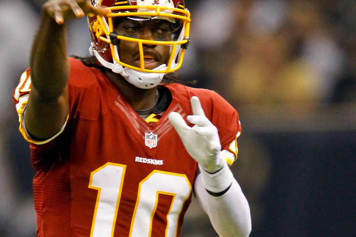 September 9, 2012; New Orleans, LA, USA; Washington Redskins quarterback Robert Griffin III (10) against the New Orleans Saints during the first half of a game at the Mercedes-Benz Superdome. Mandatory Credit: Derick E. Hingle-US PRESSWIRE