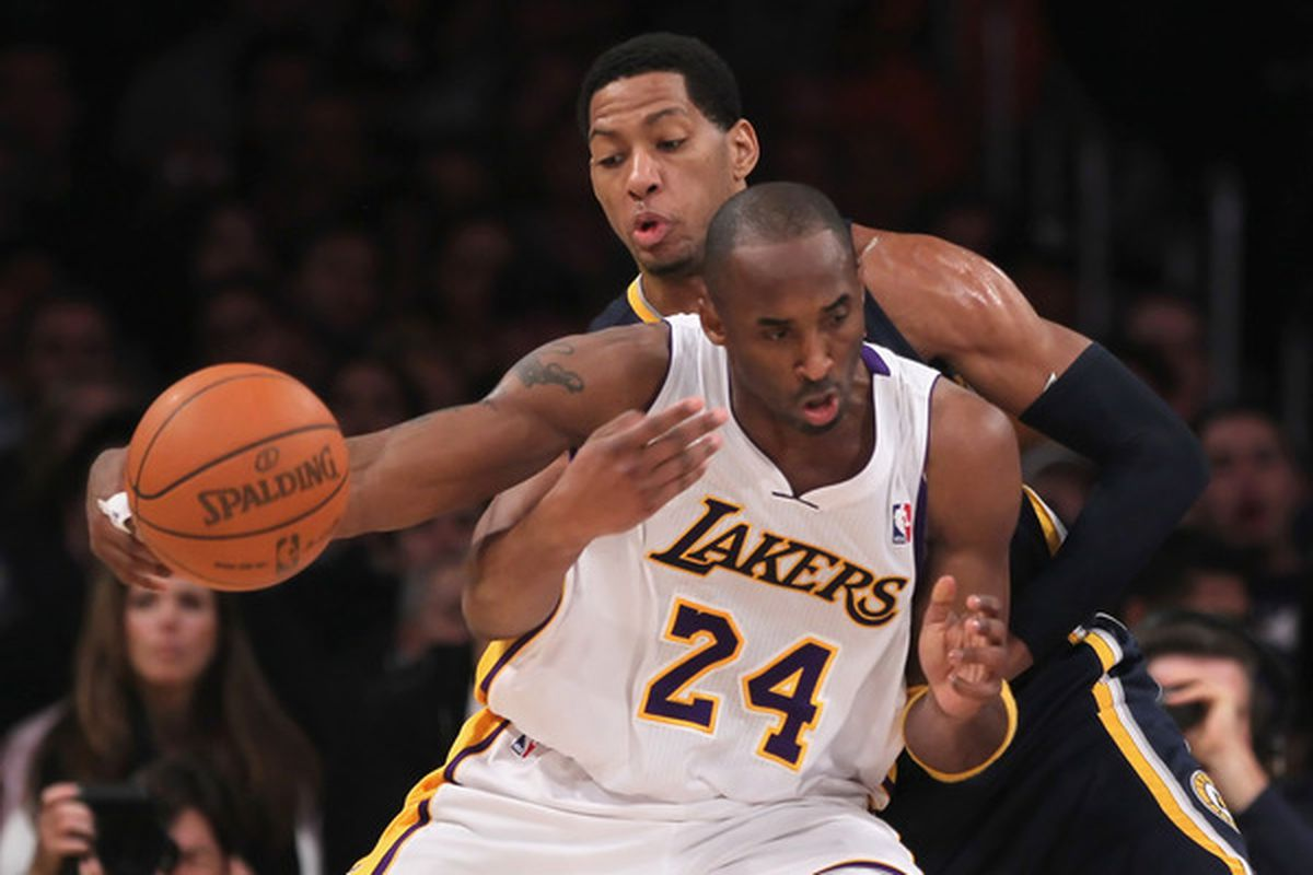 LOS ANGELES CA - NOVEMBER 28:  Danny Granger #33 of the Indiana Pacers steals the ball from Kobe Bryant #24 of the Los Angeles Lakers during the second quarter at Staples Center on November 28 2010 in Los Angeles California.