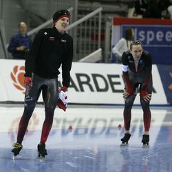 Canada's Graeme Fish, left, and Ted-Jan Bloemen take a lap after the 10000-meter race at the ISU World Single Distances Speed Skating Championships at the Utah Olympic Oval in Kearns on Friday, Feb. 14, 2020.