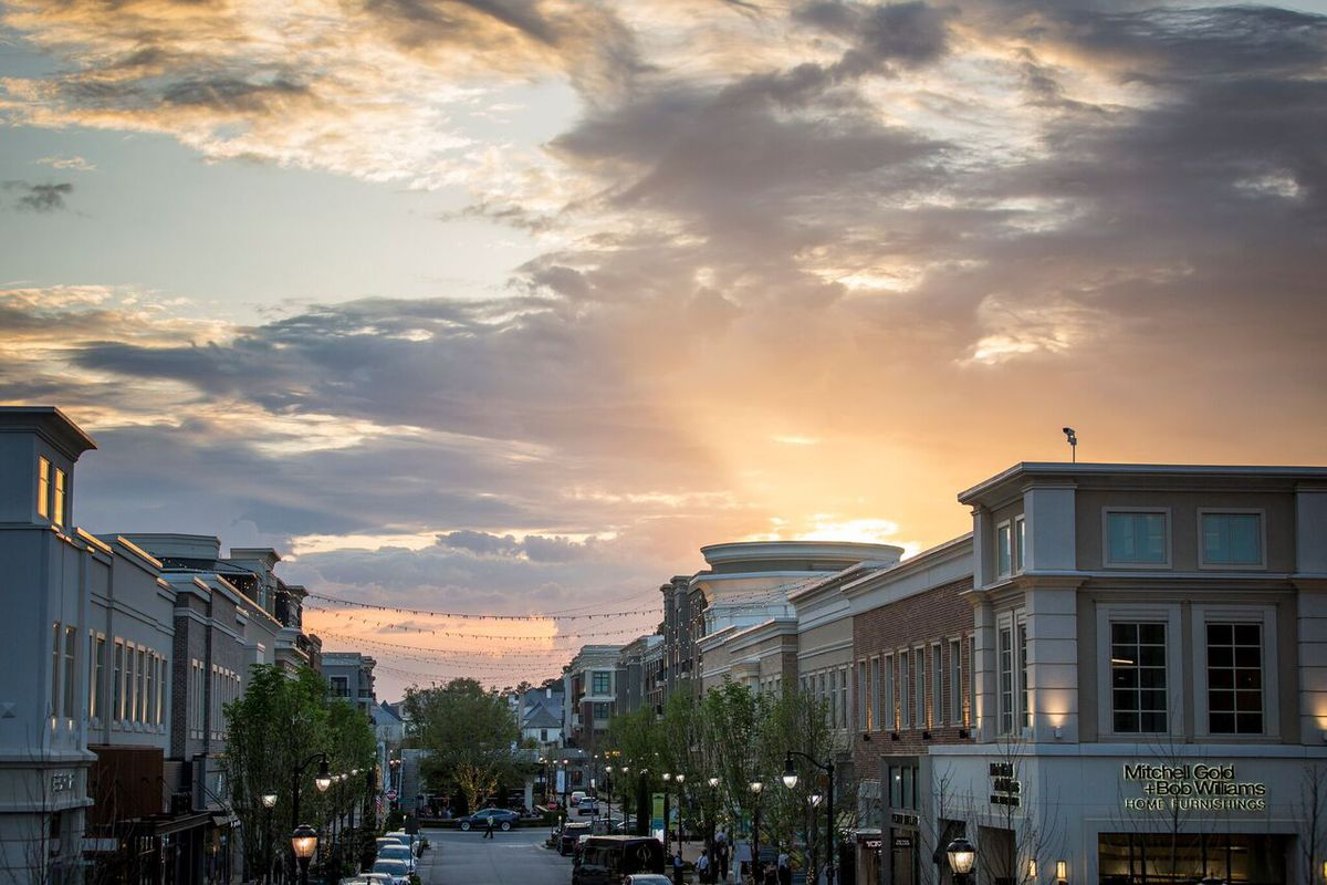 Sunset over the commercial street.