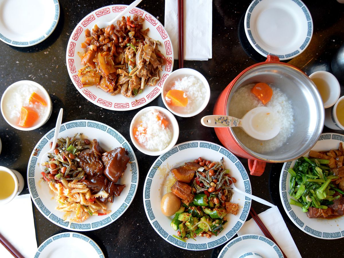 Porridge and side dishes at Lu's Garden.