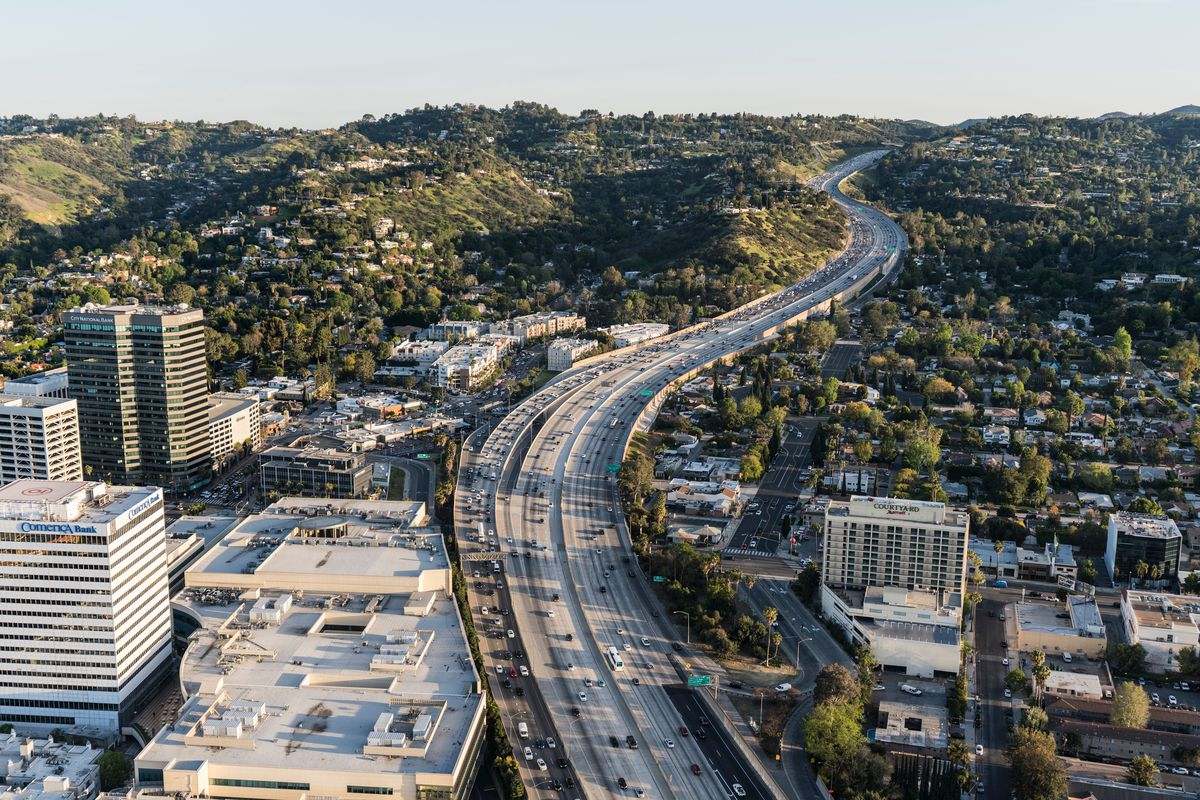 Aerial view of the 405/Sepulveda Pass