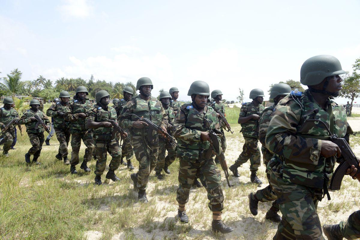 Nigerian troops participate in drills in Lagos