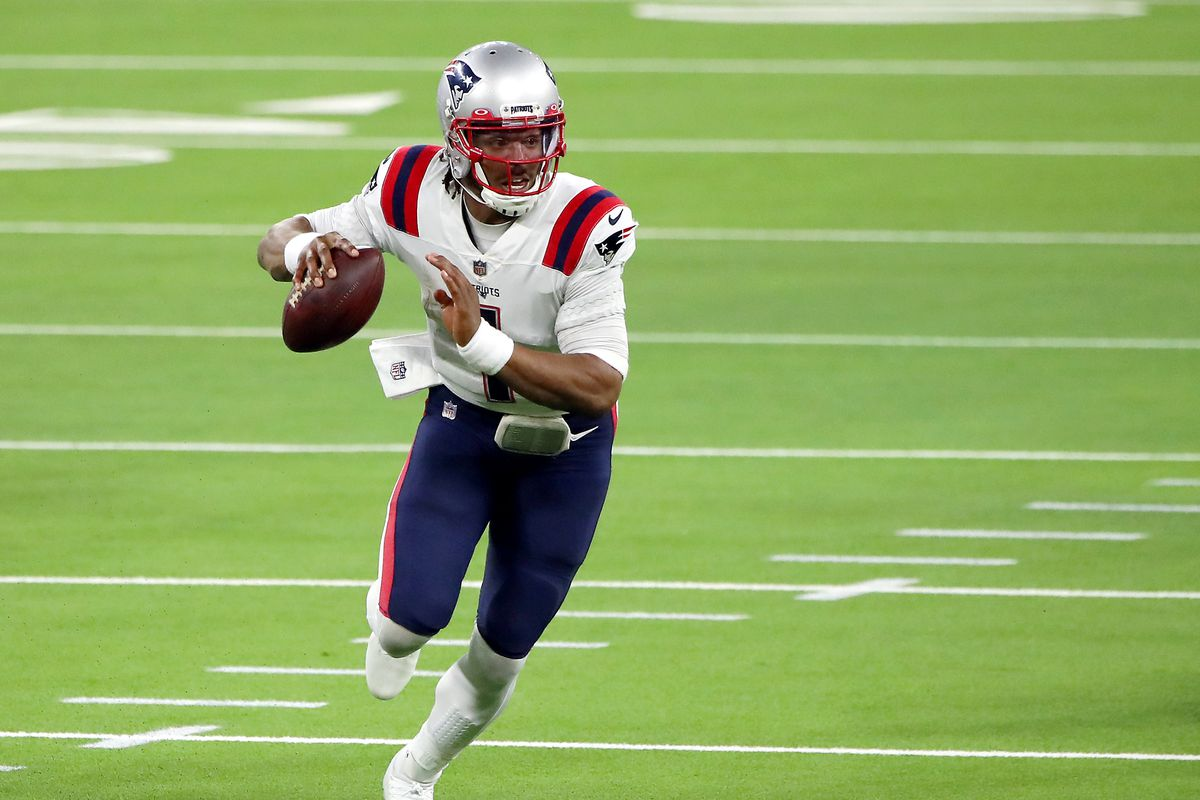 Cam Newton #1 of the New England Patriots runs the ball during the second quarter against the Los Angeles Rams at SoFi Stadium on December 10, 2020 in Inglewood, California.