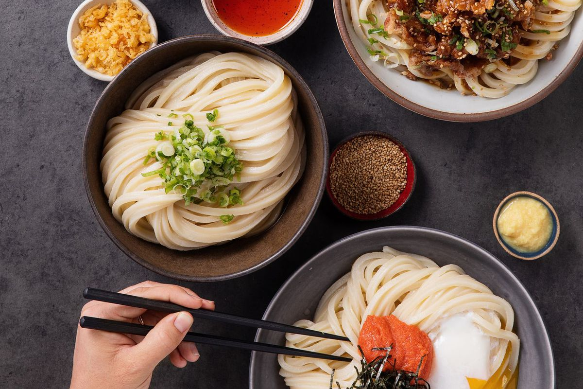 A hand holding chopsticks in a bowl of udon noodles, surrounded by other bowls of noodles and toppings