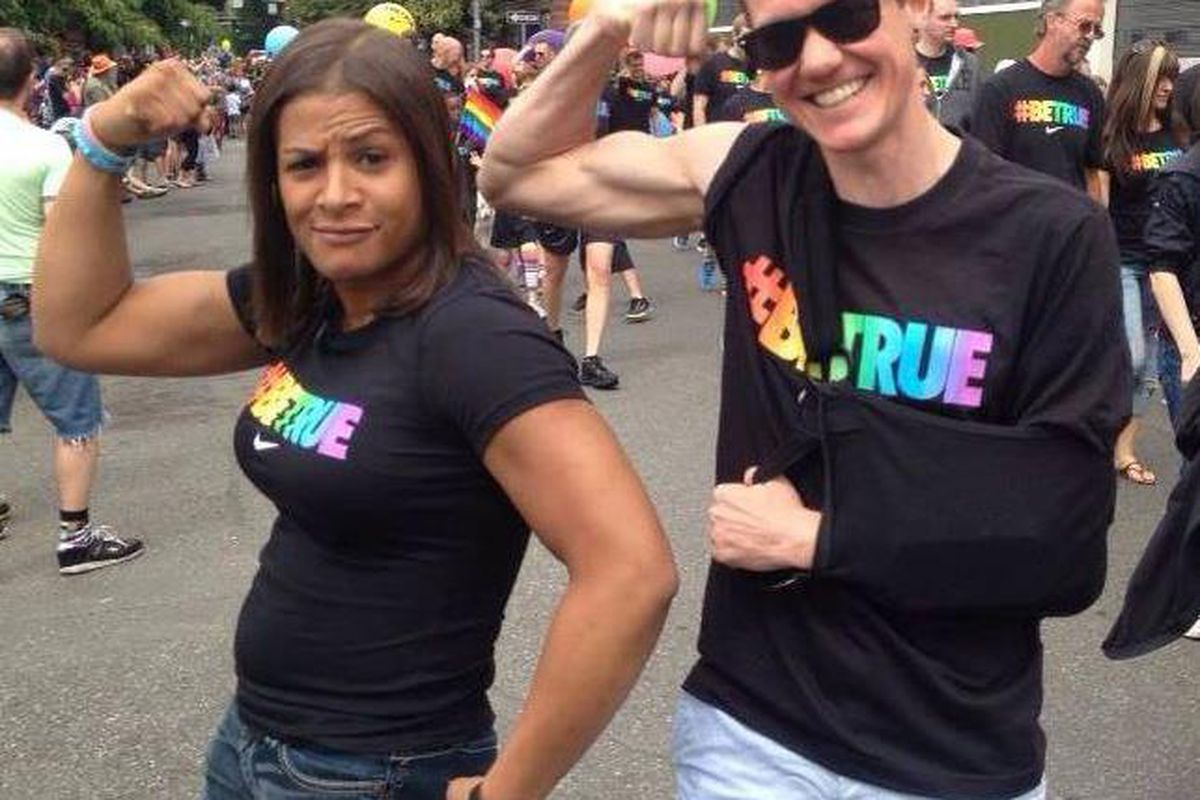 Fallon Fox and Chris Mosier at the Nike LGBT Sports Summit in Portland, Ore.