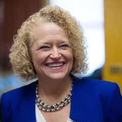 Salt Lake City Mayor Jackie Biskupski smiles during a press conference inside the City-County Building following her inauguration on Monday, Jan. 4, 2016.