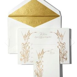 """<a href=""""http://www.harpersbazaar.com/fashion/fashion-articles/luxury-gifts-for-women#slide-19"""">Bernard Maisner stationery</a>, $495. Because nothing says """"I appreciate it"""" like gold leafing."""