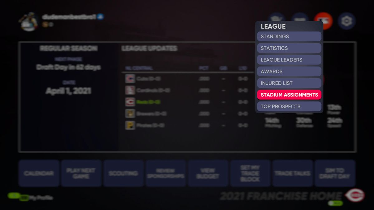 """Menu showing the """"stadium assignments"""" option in MLB The Show 21"""