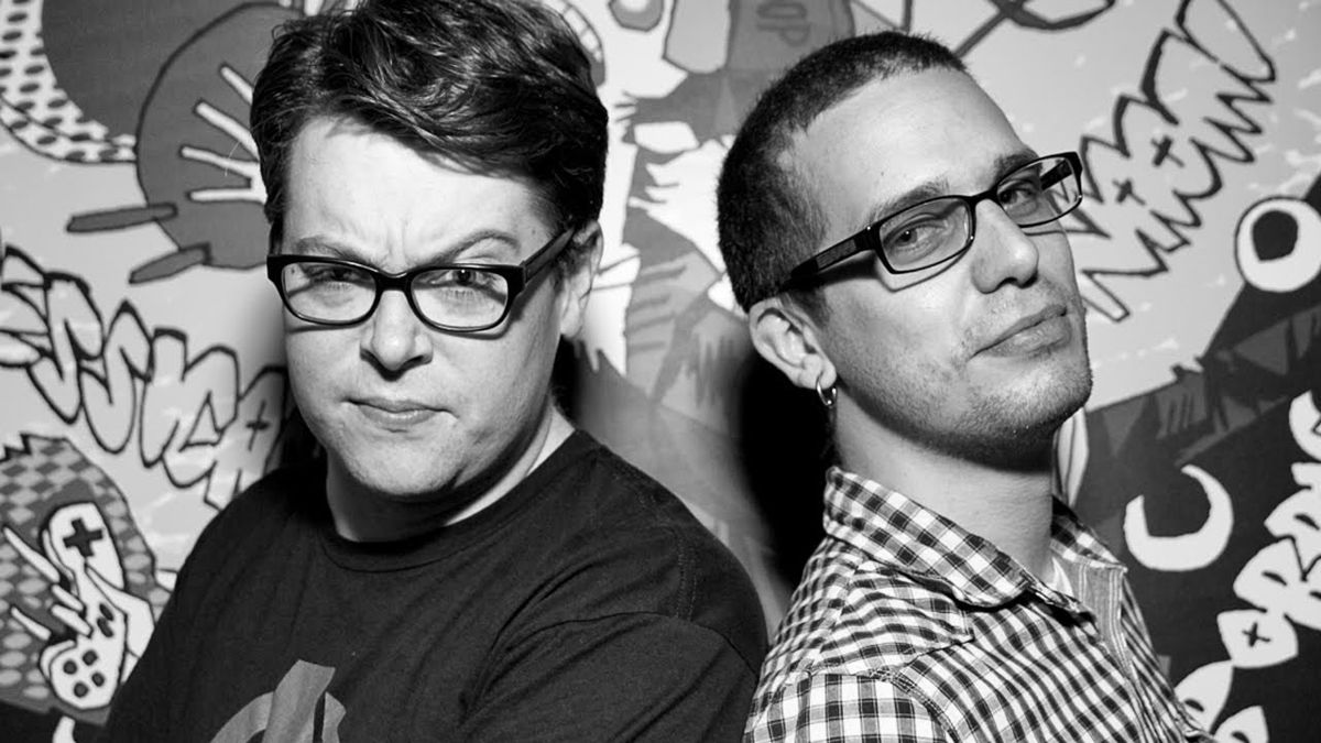 black-and-white photo of Greg Miller and Colin Moriarty