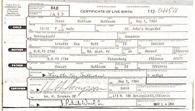 Jesse Sullivan's birth certificate