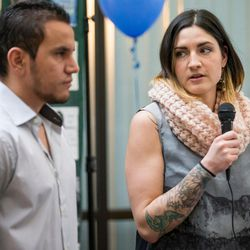 Cynthia Martinez, right, talks about donating one of her kidneys to Manuel Rameriz, left, at a ceremony hosted by Intermountain Donor Services in Salt Lake City on Wednesday, Dec. 21, 2016.