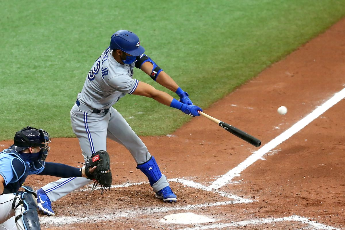 Lourdes Gurriel Jr. (13) of the Blue Jays at bat during the game between the Toronto Blue Jays and Tampa Bay Rays on July 26, 2020 at Tropicana Field in St. Petersburg, FL.