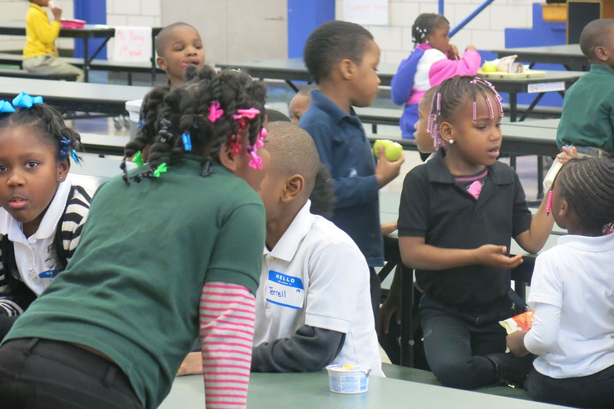 Students settle in to lunch at Aspire Hanley Elementary, a school in the ASD located in Orange Mound.