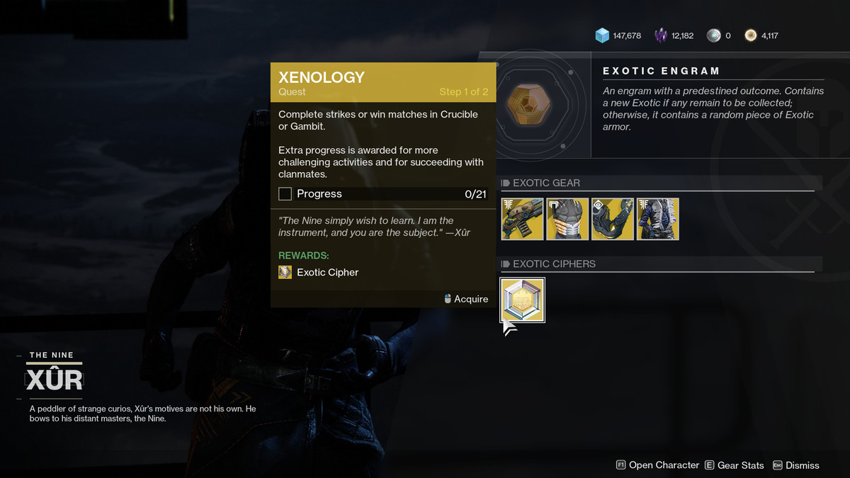 Xur Exotic Cipher quest