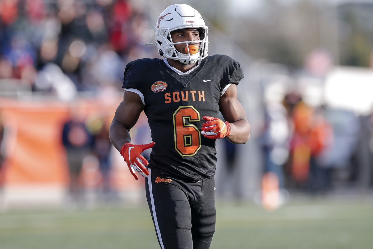 Wide receiver Devin Duvernay #6 from Texas of the South Team during the 2020 Resse's Senior Bowl at Ladd-Peebles Stadium on January 25, 2020 in Mobile, Alabama. The North Team defeated the South Team 34 to 17.