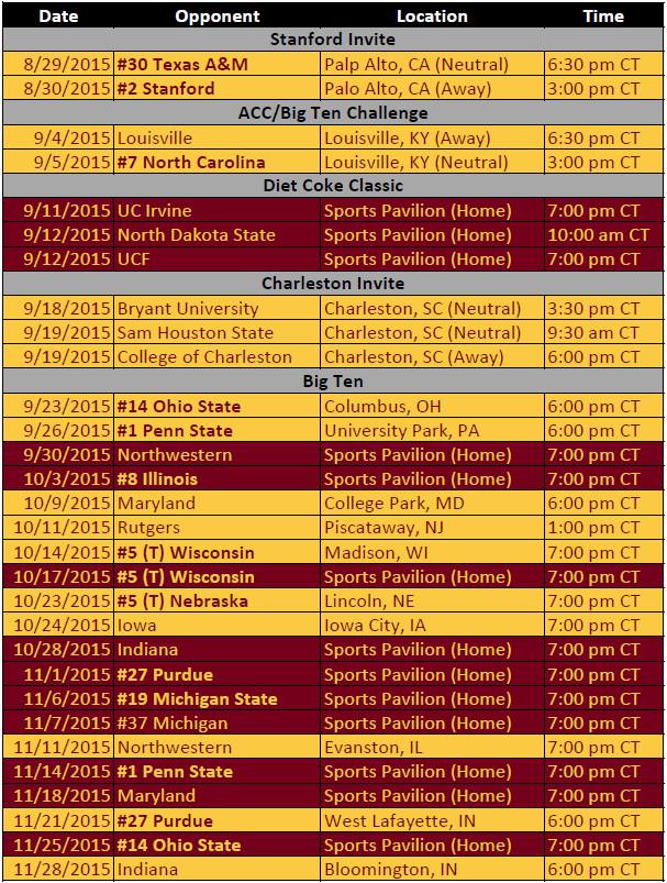 2015 Minnesota Volleyball Schedule