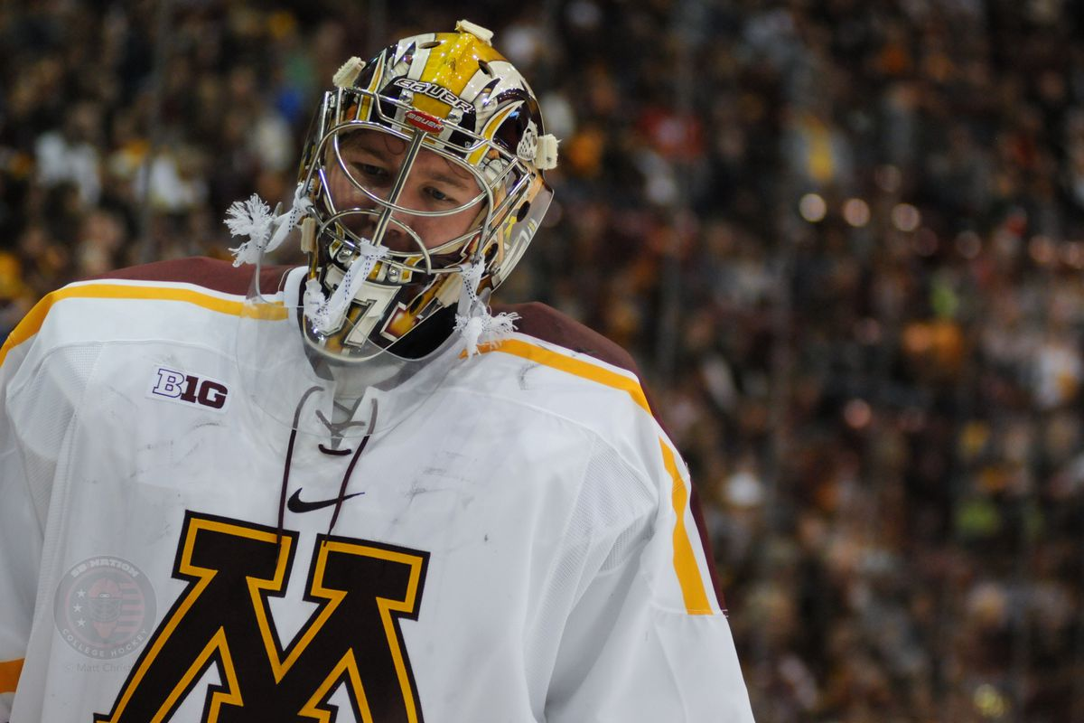 Minnesota freshman goaltender Eric Schierhorn(37)