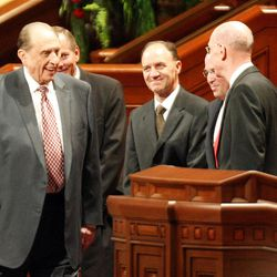 President Thomas S. Monson arrives at the General Relief Society Meeting at the Conference Center on Temple Square in Salt Lake City on Saturday, Sept. 29, 2012.