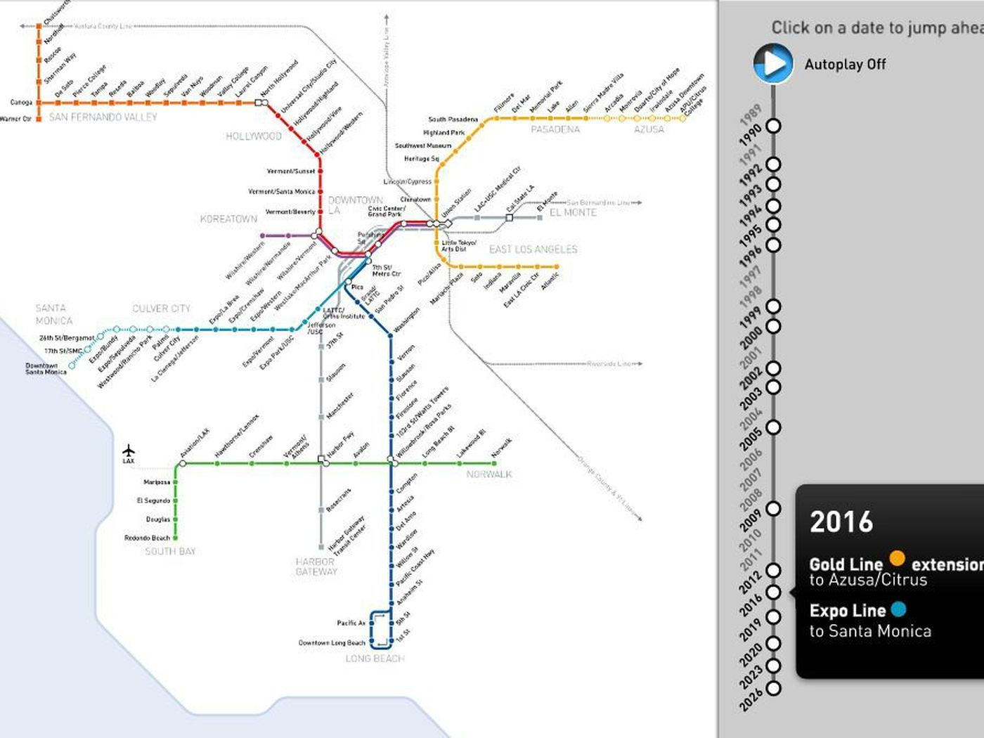 Watch The Los Angeles Metro Rail Maps Spectacular Growth From - Los angeles metro line map