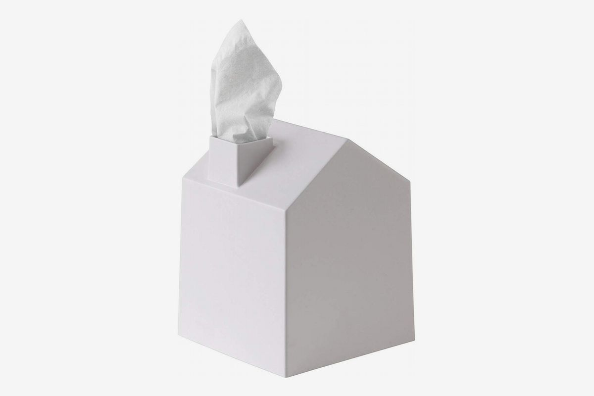 White house-shaped tissue box cover.
