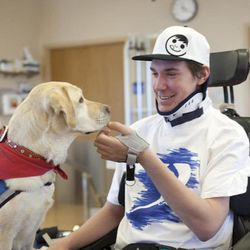 A young man interacts with a therapy dog Diva at Intermountain Medical Center in Murray, Utah.