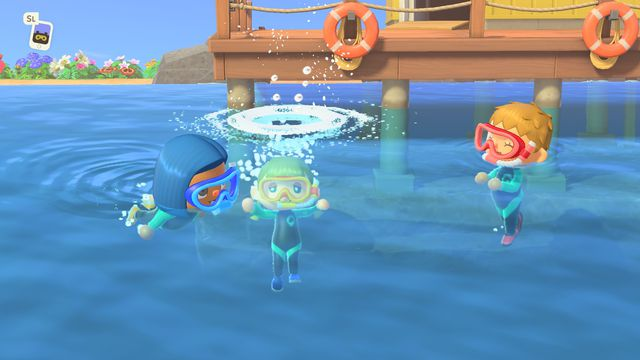 Three villagers swim by the dock in a screenshot from Animal Crossing: New Horizons