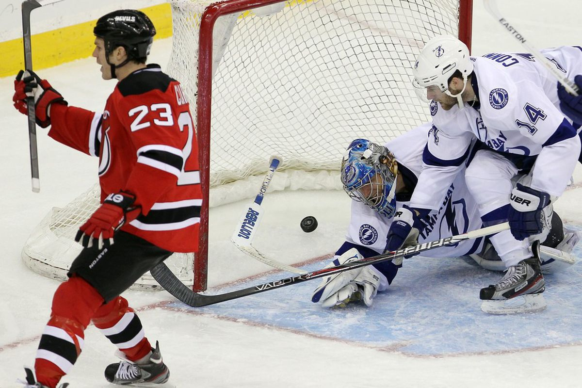 Pictured: the Devils' sixth goal of the night. That's right - <strong>sixth.</strong> After this goal by David Clarkson, Dwayne Roloson was replaced by Sebastien Caron.  Mandatory Credit: Ed Mulholland-US PRESSWIRE