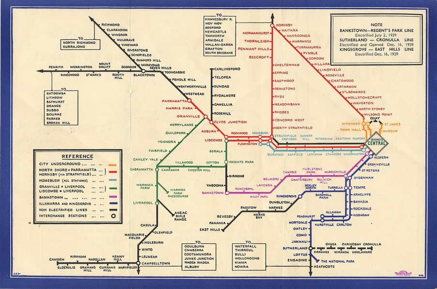 sydney metro map 1939 london transport museum