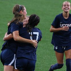 UConn's Lauren Hart #10 celebrates with Abby Kern #17 after scoring a goal during the UMass Minutewomen vs the UConn Huskies at Morrone Stadium at Rizza Performance Center in an exhibition women's college soccer game in Storrs, CT, Monday, August 9, 2021.