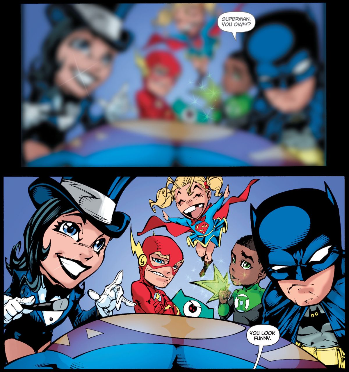 Cartoony, big-headed versions of the Zatanna, Flash, Supergirl, Green Lantern, and Batman hover around Superman as he wakes up, in Superman/Batman # 46, DC Comics (2008).
