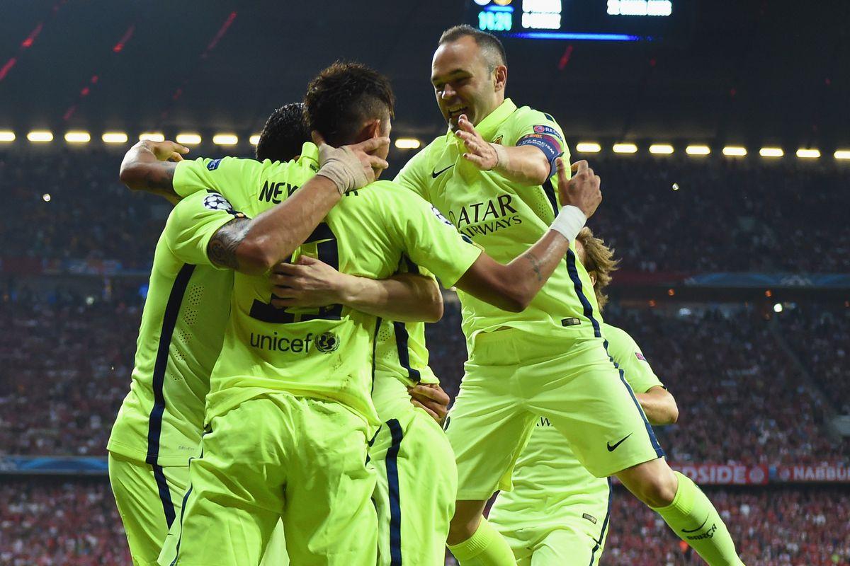 FC Barcelona celebrates reaching UEFA Champions League final.