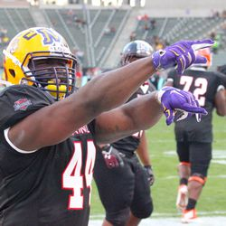 LSU's JC Copeland points to the stands.