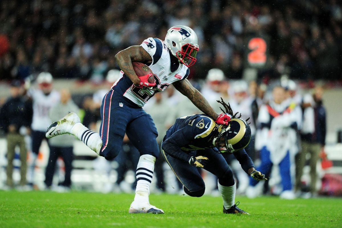 Stevan Ridley knows how to lead with the stiff-arm, not the helmet.