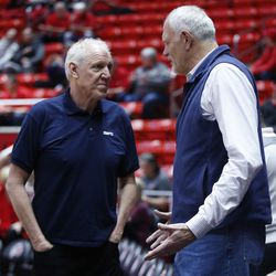 Former NBA players Bill Walton and Mark Eaton talk prior to the Utah game in Salt Lake City on Thursday, Feb. 22, 2018.