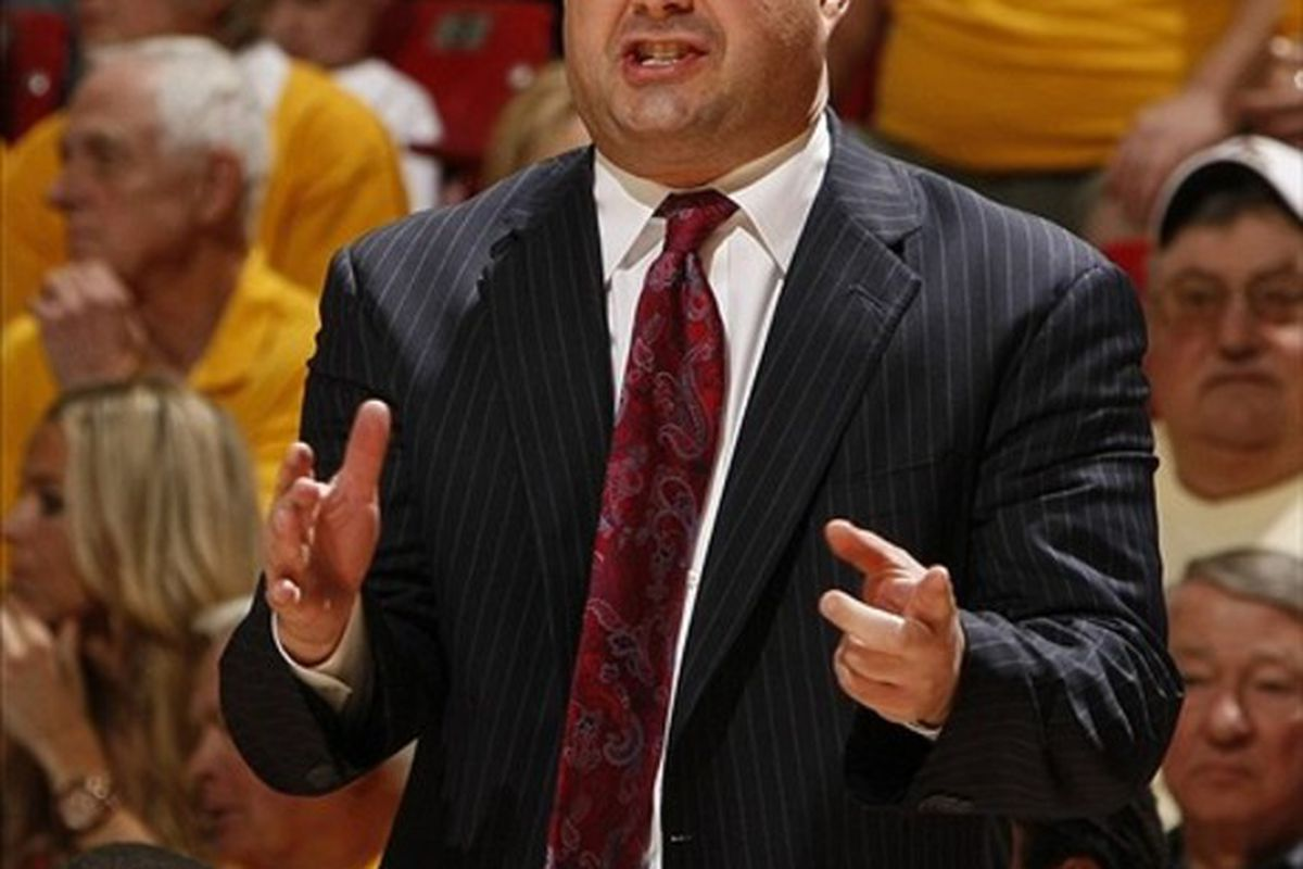March 4, 2012; Tempe, AZ, USA; Arizona Wildcats head coach Sean Miller against the Arizona State Sun Devils in the first half at Wells Fargo.  Mandatory Credit: Rick Scuteri-US PRESSWIRE