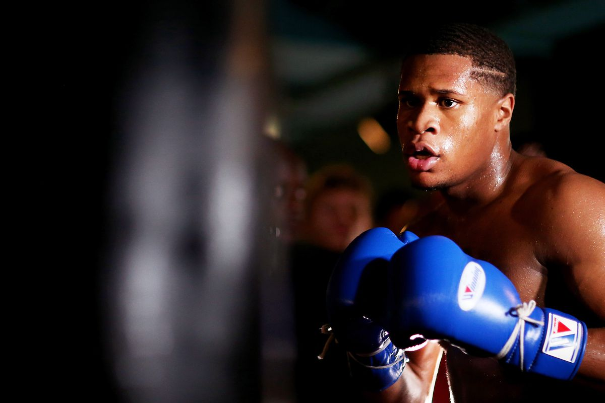 Devin Haney trains during the Devin Haney Media Workout at Rathbone Boxing Club on September 27, 2019 in London, England.