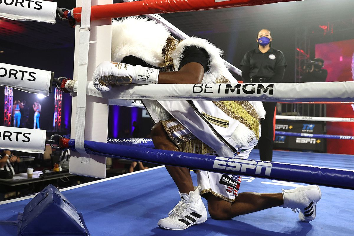 Jamel Herring reacts before facing Jonathan Oquendo during a Jr. Lightweight WBO World Title bout at MGM Grand Conference Center Grand Ballroom on September 05, 2020 in Las Vegas, Nevada.