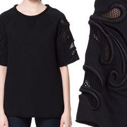 "<b>Zara</b> Sweatshirt with Embroidered Sleeves in black, <a href=""http://www.zara.com/webapp/wcs/stores/servlet/product/us/en/zara-nam-S2013/364001/1107543/BLACK%20SWEATSHIRT%20WITH%20EMBROIDERED%20SLEEVES"">$79.90</a>"