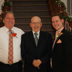 """Archie D. Fellows, Archie L. Fellows and Archie M. """"Matt"""" Fellows share a laugh on the young man's wedding day last year. He was close to his grandfather, who died recently. Young people and old people are drawn to each other, the relationships mutually valuable."""