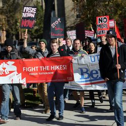 Students join the the national #MillionStudentMarch movement by rallying at the University of Utah for tuition free college in Salt Lake City on Thursday, Nov. 12, 2015.