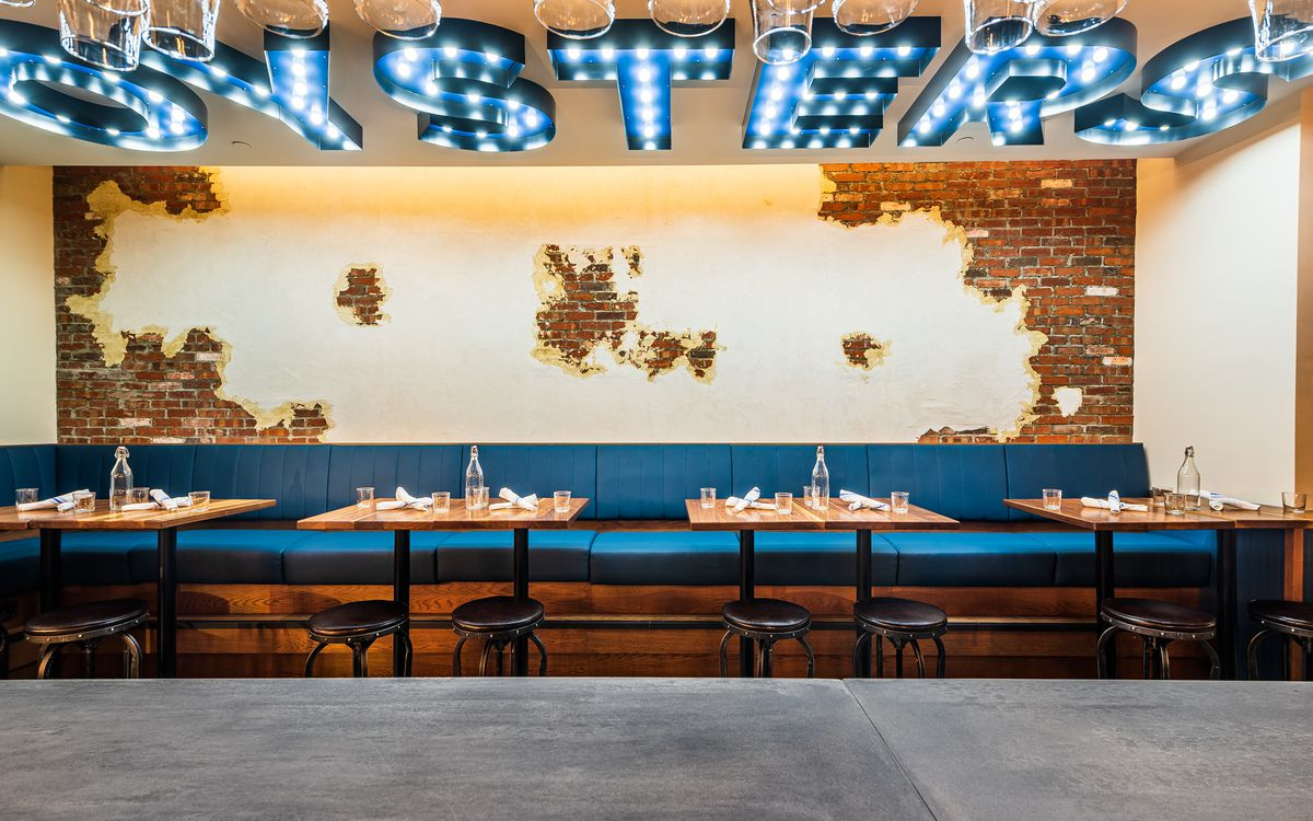 The brick-lined interior at King Street Oyster