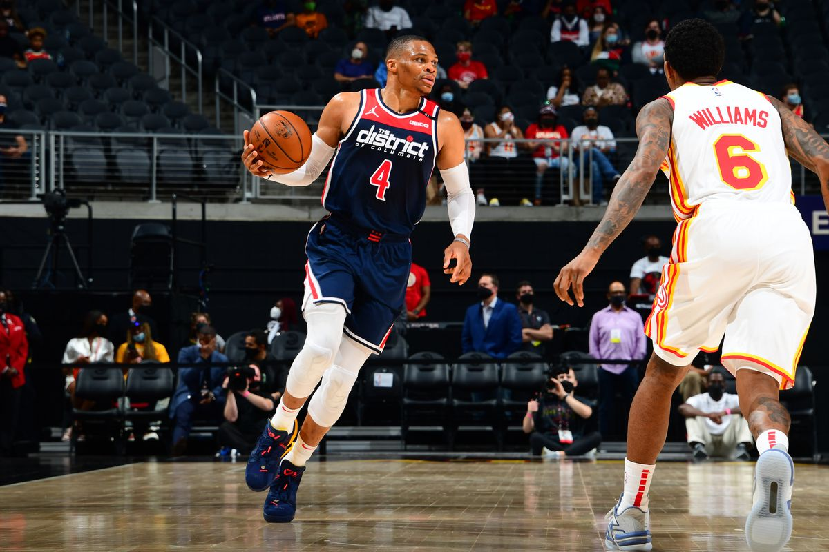 Russell Westbrook #4 of the Washington Wizards dribbles the ball against the Atlanta Hawks on May 10, 2021 at State Farm Arena in Atlanta, Georgia.