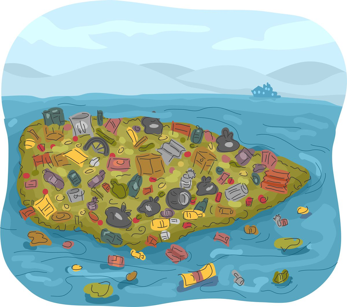 Illustration of garbage patch in the ocean