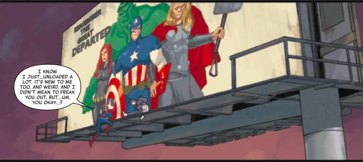 """spider-man and faye sit in front of a billboard that says """"remember the departed"""" with Captain America, Thor, Black Widow, and Hulk standing in a line"""