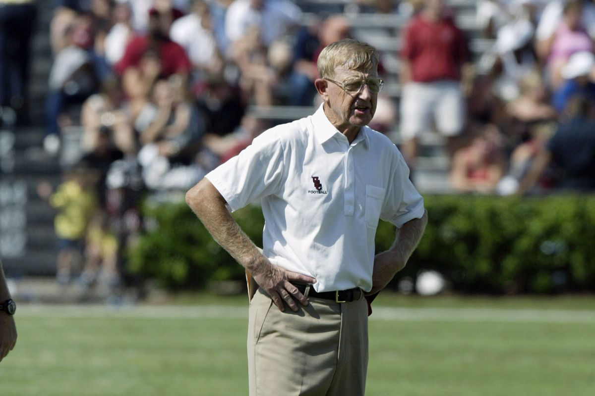 Coach Lou Holtz looks on