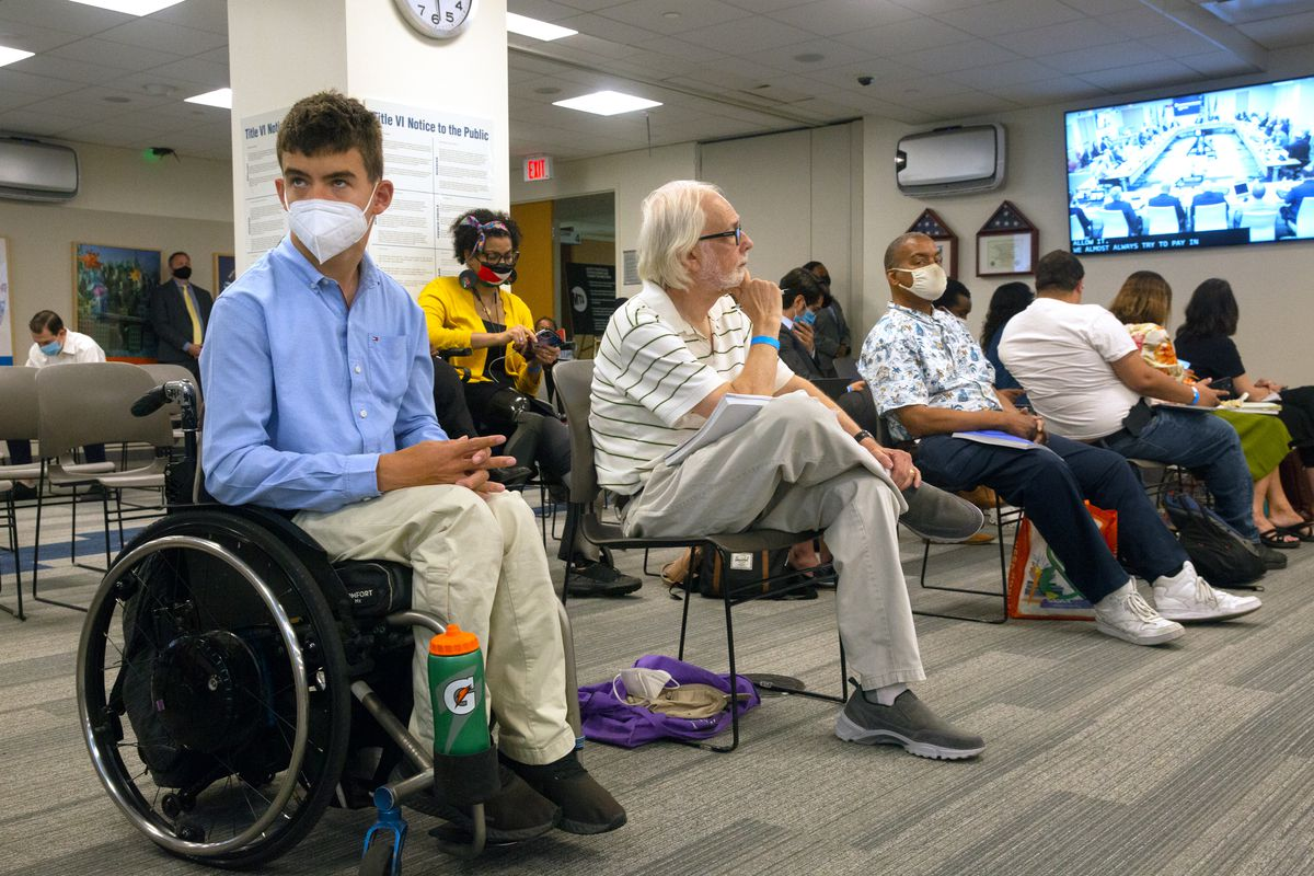 The first in-person full MTA board meeting of the pandemic, held in Lower Manhattan on July 21, 2021.