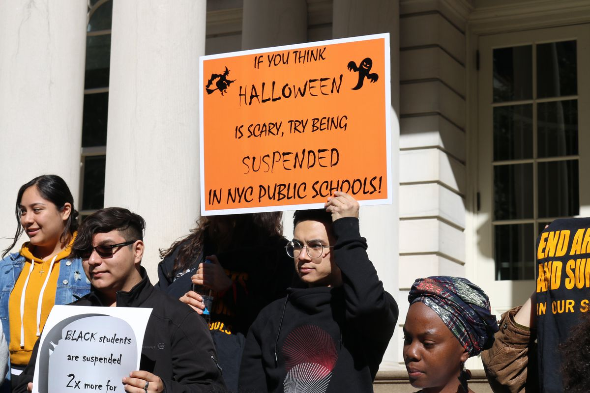 Advocates gathered at City Hall to protest New York City's school discipline policies last year.